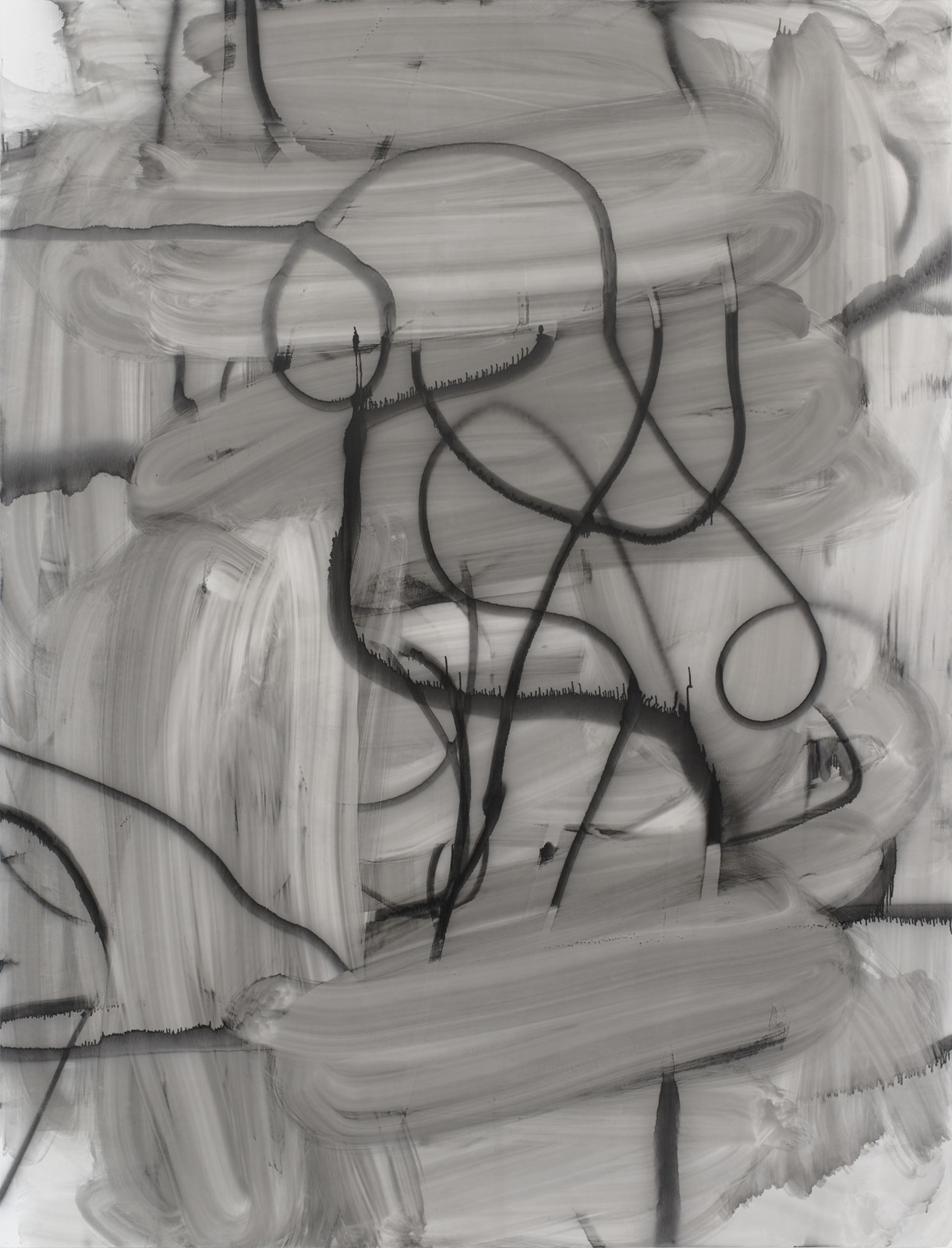Gestural gray toned erasure marks throughout the background with looping spray paint black design in the foreground